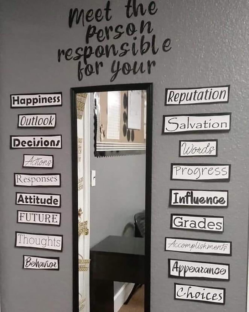 Mirror with words around it froma brainstorm on responsibilities